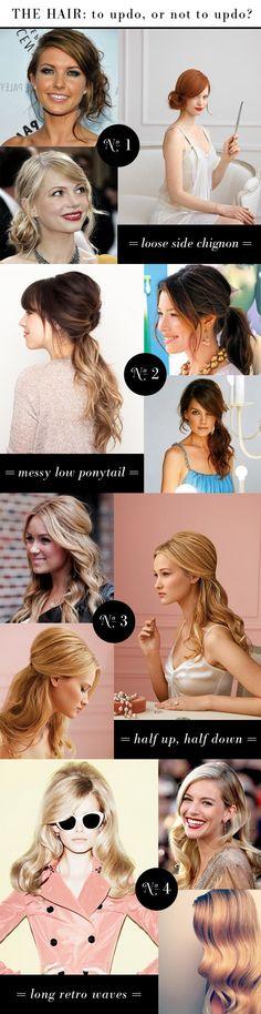 bridesmaid hair ideas: chignon, pony, half-up, retro down