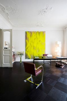 acid yellow accent in the home office