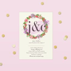 Yes to lettering, floral wreaths & confetti! This invitation was fun to put together 🎉🌸🌷 Floral Wreaths, Stationery Design, Confetti, Invite, Print Design, Wedding Invitations, Place Card Holders, Lettering, Boutique