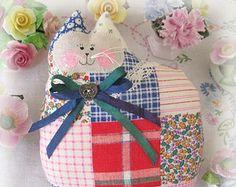 Cat Pillow Cat Doll, Cloth Doll 7 in. Vintage Patchwork Quilt Print,  Primitive Soft Sculpture Handmade CharlotteStyle Decorative Folk Art