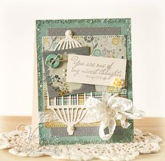 Shabby card using bird cage and quote: 'You are one of my nicest thoughts'