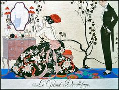 Georges Barbier Solid-Faced Canvas Print Wall Art Print entitled 'The Backless Dress', engraved by Henri Reidel, 1920 Abstract Canvas, Abstract Print, Canvas Wall Art, Wall Art Prints, Canvas Prints, Art Vintage, Vintage Posters, Illustration Française, Moda Art Deco