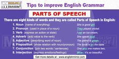 There are eight kinds of words and they are called Parts of Speech in English language: Conjunction and Interjection. Learn English For Free, Improve English, Adverbs, Prepositions, English Grammar, English Language, Grammar Tips, Parts Of Speech, Names