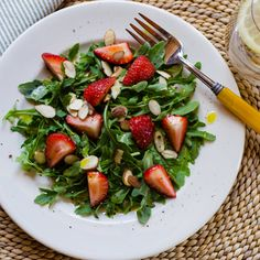 Arugula Strawberry Salad with Meyer Lemon Vinaigrette – an easy spring salad that takes less than five minutes to make. | gluten-free, dairy-free, paleo | cookeatpaleo.com