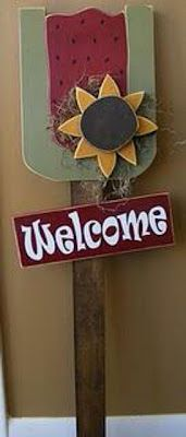 "Summer ""welcome"" garden stake"
