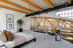 Warehouse Converted Bachelor Pad with Indoor Basketball Court (2)