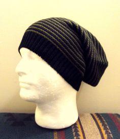 1d3ec8c5ded MENS SLOUCHY BEANIE Slouchy Hat Winter Hat Green Black Striped Knit Slouchy  Beanie Men Winter Accessories