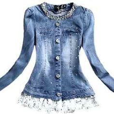 Couture Coats, Denim Fashion, Womens Fashion, Mein Style, Mode Chic, Jeans Denim, Denim And Lace, Diy Clothing, Classy Outfits