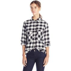 Sanctuary Clothing Women's Plaid Boyfriend Shirt ($41) ❤ liked on Polyvore featuring tops, long sleeve pocket shirts, boyfriend plaid shirt, long sleeve flannel shirts, long plaid boyfriend shirt and convertible tops