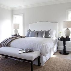 ** White Upholstered Headboard, Transitional, bedroom, Milton Development
