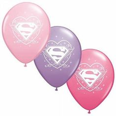 """6 pc 12"""" Super Girl Forever Party Latex Balloons Happy Birthday Baby Pink Hero"""