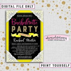 """Bachelorette Party Invitation """"Yellow and Lace"""" Collection (Printable File Only) Fuschia Lace Black Fun Fonts Pink Gold Glitter Fun Electric"""