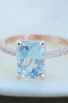 Blake Lively ring 3.17ct Mint Sapphire 14k rose gold diamond ring. Emerald cut ring. Solitaire ring.