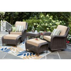 Hampton Bay Cambridge Grey Wicker Swivel Outdoor Rocking Chair with Cushions Included, Choose Your Own Color