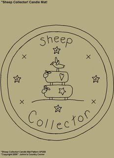 Primitive Stitchery Pattern  Sheep Collector! Candle Mat Pattern!
