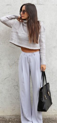 Grey sweater, pants, black handbag. Casual street women fashion outfit clothing style apparel @roressclothes closet ideas