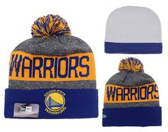 2caeae910 Men s   Women s Golden State Warriors New Era 2016 NBA Sports Fashion Cuff  Pom Pom Beanie Hat - Grey   Blue   Gold