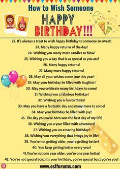Birthday Wishes: Best Happy Birthday Wishes to Friends & Others! - ESL Forums Birthday Wishes: Best Happy Birthday Wishes to Friends & Others! Short Birthday Wishes, Happy Birthday Quotes For Friends, Birthday Wishes Messages, Birthday Blessings, Wishes For Friends, Happy Birthday Fun, Happy Birthday Images, Birthday Greetings, Funny Birthday