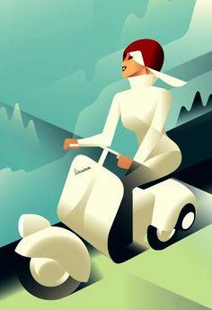 mads berg  vespa ad Piaggio Scooter, Vespa Ape, Scooter Bike, Vespa Lambretta, Vespa Scooters, Motos Vespa, Art Deco Paintings, Vespa Girl, Mopeds