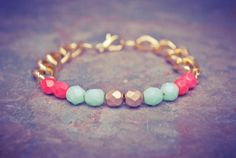 Coral, Mint and Gold Czech Beaded Bracelet