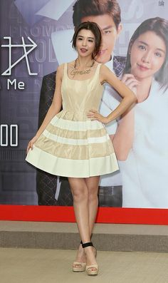 Taiwanese pop group Dream Girls` Tia Li poses during a premiere for her TV drama 'Fall in Love With Me' in Taipei, Taiwan, April 3, 2014.