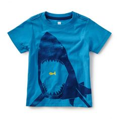 Tea SS16 Chomp! Graphic Tee in lagoon - $22.50 | A hungry shark shows off his impressive chompers on this sea blue tee.