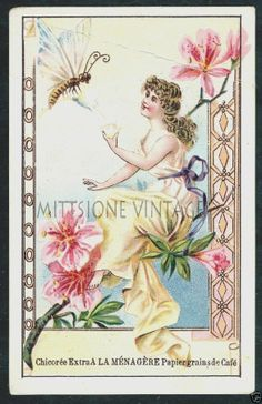 French Victorian Trade Card: Antique Chicoree A La Menagere Papier Grainsde Cafe #NA