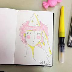 Ando medio gomaeva de la mente y no encuentro mi agenda. Algunas cosas las sostengo de memoria o gracias a dropbox pero si te estoy debiendo un presupuesto o un mail de amorosidad variable házmelo saber plischu no volverá a suceder  #sketch #pinkhair #illustration #girl #forget