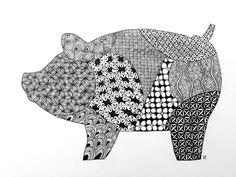 Zentangle, Zoo, Pig, Black and white, www.zentanglezoo.blogspot.com