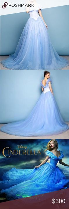 Cinderella Princess Gown Cinderella Disney blue dreamy princess gown, no flaws. Can be used for princess parties, Halloween or costume parties! Beautiful, stunning, in PERFECT condition- but no tags (not Disney Brand). This dress is a replica of the gown Cinderella wears in the live action movie from 2015. Pearling on the skirt, off the shoulder style. Zipper in the back, boning in the bust & waist gives it shape. Best fits sizes 4-8. Ships same day!🎉💙💌🎁 Disney Dresses Strapless