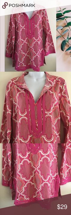"""Dana Buchman Medallion Print Tunic Top Brand: Dana Buchman  Size: Medium  Color: Pink  Fabric: Cotton blend  Care: Machine washable  Country of manufacture: Indonesia  Details: Medallion print. Stand collar; split neckline. Straight hem; split sides.   Approx Measurements: PTP 20.5""""; Length from top of shoulder to hem 30.5; Sleeve length 23""""  Condition: EUC The photos are the BEST description of the item and are MORE IMPORTANT than my written description! Try the """"ZOOM"""" feature, it is a…"""