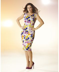 """Kelly Brook"" Kelly Brook Print Belted Dress at Simply Be"