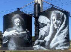 Australian Silo Art Trail Australian Road Trip, Australian Art, Land Of Oz, Building Art, Back Road, Rural Area, Water Tower, Paintings I Love, Amazing Art