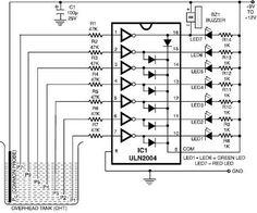 numeric water level indicator liquid level sensor circuit diagram rh pinterest com water level controller circuit diagram water level indicator circuit diagram with alarm