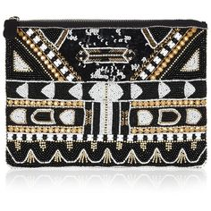 MRS ROBINSON Midnight Clutch (2.039.760 IDR) ❤ liked on Polyvore featuring bags, handbags, clutches, multi, beaded handbag, beaded clutches and beaded purse