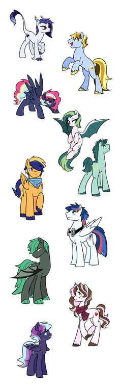 Identity, Hayride, Cloud Skipper, Oasis, Apollo, Thunder Stomp, Striker, Peridot Flame, Fraise, and Raine!   NextNextGen ponies! Comment below if you want me to post their parents' names!