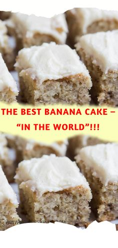 This is the Best Banana Cake I've ever tasted! There's nothing like a moist banana cake recipe from scratch with cream cheese frosting! Banana Sour Cream Cake, Moist Banana Cake Recipe, Banana Frosting, Cream Cheese Frosting, Banana Coffee Cakes, Banana Bundt Cake, Banana Dessert, Bannana Cake, Banana Bread
