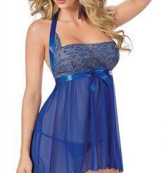 Women Blue Lace Halter Nightwear Dress