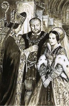 Henry VIII and Anne Boleyn blessed by a bishop. By C.Doughty. - there's a lot of Anne Boleyn on my newsfeed this morning. And I'm loving it. She's one of my favorite Tudor queens.: