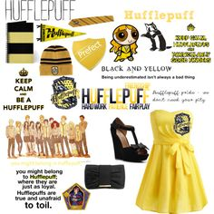 Out of all the houses, Hufflepuff is where I really should be. Harry Potter Dress Up, Harry Potter Outfits, Harry Potter Memes, Health Is Wealth Quotes, Hufflepuff Pride, Disney Dresses, Black N Yellow, Visualising, Fashion Outfits
