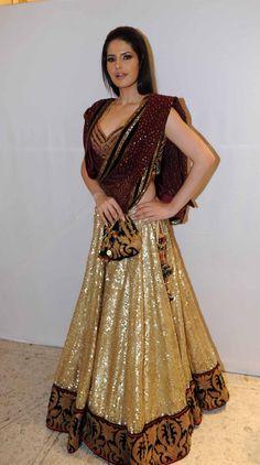 Like the sequins idea for lehenga. Lehenga Choli Ensemble in shades of browns & gold Indian Bridal Wear, Indian Wear, Indian Style, Pakistani Outfits, Indian Outfits, Ethnic Fashion, Asian Fashion, Women's Fashion, Lehenga Choli