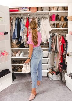 A Mix of Min provides tips on optimizing closet space with The Container Store and their customer Elfa closets. Closet Walk-in, Huge Closet, Closet Bedroom, Closet Space, Master Closet, Bedroom Storage, Dream Bedroom, Container Store Closet, Container Cabin