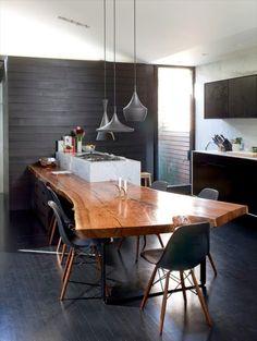 Nakashima-Style Walnut Slab Counter/Dining Table