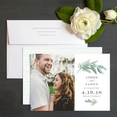 Lush Greenery Save The Date Cards By Emily Crawford   Elli