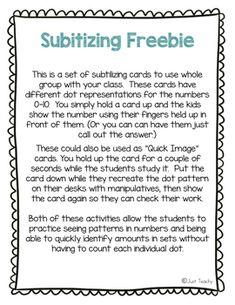 Subitizing FREEBIE by Just Teachy - Megan Conway | Teachers Pay Teachers First Grade Math Worksheets, Kindergarten Math Activities, Subitizing, Number Sense, Kids Shows, Teacher Pay Teachers, Hold On, Dots, Cards
