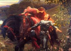 La Belle Dame Sans Merci by Frank Dicksee (The Beautiful Lady Without Pity), Oil on canvas