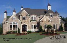 Mon Chateau Manor House Plan # 04243, Front Elevation, French Style House Plans, European Style House Plans