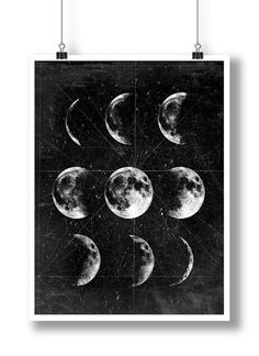 Moon PosterFull MoonMoon Art With Moon by 8RedFishCreative on Etsy