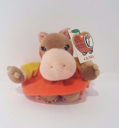 """Gund Hilda Hippo Busy World of Richard Scarry Plush Doll 4"""" 1996 Mini Toy Vtg"""