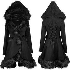 Black Fur Hooded Gothic Lolita Dress Trench Coat Overcoat Women SKU-11401236